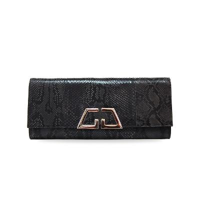 gold point python clutch bag